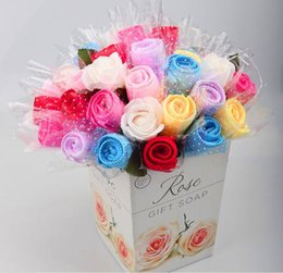 Wholesale Towel Favors Weddings - 90 x European Style Gift Flowers Wedding Favors Birthday Party Gifts Single Rose Design Cake Towel Artificial Flowers, NO VASE