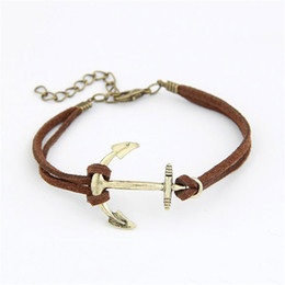Wholesale wholesale strand anchor bracelet - 5 Colors 18*3.4*3.2cm Anchor Leather Braid Cord Strands DIY Jewelry Alloy Charm Bracelets as Gifts