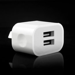 au dual port wall charger Coupons - 5V 2A Dual usb ports EU US Au Wall charger power adapter for iphone 6 7 8 X samsung s6 s7 edge s8 android phone white color
