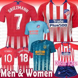 2514e5c48 top 18 Camiseta de fútbol del Atlético de Madrid 7 GRIEZMANN 10 Correa 21  Lucas 19 Costa Koke Godin Luis Gimenez 2019 Kits de niños Mujeres Hombres  camiseta ...