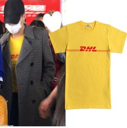 Мужчины Женщины популярный логотип bigbang права дракон GD желтый DHL express fun с коротким рукавом футболки любителей летней одежды от