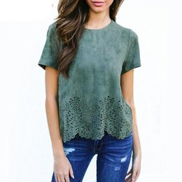 Wholesale Womens Browning T Shirts - 2018 New Women T shirt Summer Fashion Thin Section Suede O-neck Hollow Out Tops Tshirt Ladies Short Sleeve T-shirts Tees Womens