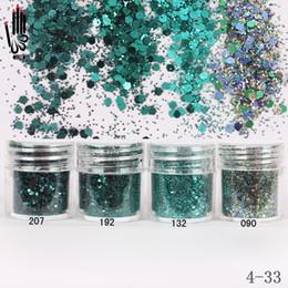 Gel nails dicas verdes on-line-Nail Art 1 Jar / Box 10 ml Prego 4 Cor Verde Escuro Mix Glitter Em Pó De Lantejoula Em Pó Para Gel Decoração Dica 300 Cor 4-33