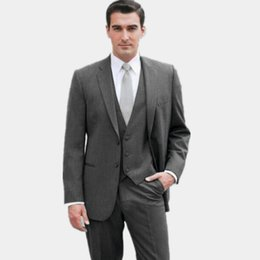 c5d8b048d501c 2019 trajes de lana gris Nuevo diseño gris oscuro para hombre trajes mezcla  de lana novio