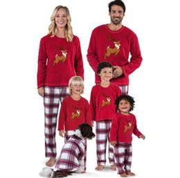 Chinese Christmas Family Matching Deer Pajamas Set Xmas Sleepwear Pajamas  Set Striped Adult Kids Nightwear Sleepwear b0cf7f014