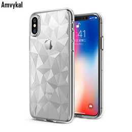 Wholesale Iphone Diamond Gel Case - Amvykal For iphone X 6 6s 7 8 Plus Case Diamond Geometric Soft Silicone Clear Case 5 Colors Glossy Soft GEL TPU Cover