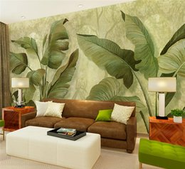 Wholesale Banana Print - Banana Leaf Mural Wall Photo Wallpaper for Living RoomWall Art Decor Leaves Wall Paper Murals Stereoscopic 3d Southeast Tropical plants