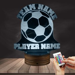 Wholesale Led Name Lights - 1Piece Football 3D Lights Football Team Name Custom LED Lights Personalised Soccer Player Name Table Lamp Custom Made LED Logo