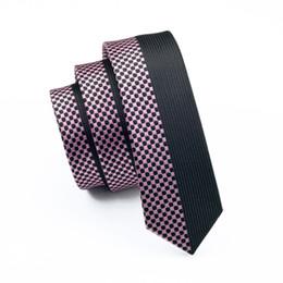 розовое свадебное платье для мужчин Скидка Коричневый полосатый и розовый плед тонкий галстук тощий узкий gravata 2016 мода шелковые галстуки шеи для мужчин 5,5 см ширина свадебное платье E-209