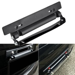 Wholesale auto plate frames - Universal Carbon Fiber Style Auto Car License Plate Frame Holder Adjustable Relocate Bracket