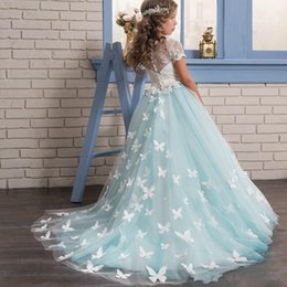 Wholesale Beautiful Bead Embroidery - Beautiful Butterfly Flower Girls Dress Sqaure Neck Lace Appliques Bow Short Sleeve Girls Pageant Dresses Lovely Floor Length Birthday Dress