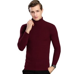 Wholesale Knit Sweaters For Winter Mens - NEW Mens Sweater Knitted Colorful Pullovers For Man solid Slim Winter Wool Sweaters Casual Wool homme size M-XXXL
