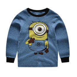 Wholesale minion sets - 2-7 Years Cute 2017 Baby Boys Pajamas Sets Cartoon Children's Clothing Sets Autumn Minions Kids sleepwear cotton t shirts pants