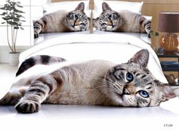 set di biancheria da letto di lupo queen size Sconti Ms.O su ordine 3D Animal Queen Size copripiumino Dog Tiger lupo Pavone gatto leopardo Bedding Set lenzuolo Lenzuola