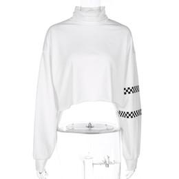 Wholesale Plaid Turtleneck - Fashion Turtleneck Cropped Hoodies Women White Knitted Sexy Plaid Checkboard kpop Pullover Hoodie White Sweatshirt Tops