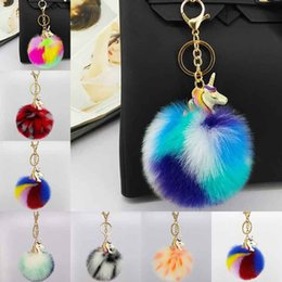 Wholesale bags for cars - 2018 unicorn Car Pom Pom KeyChain Bag Charms Jewelry for Women Artificial Fur Ball Key Chain colors Pompom Keychains 340021