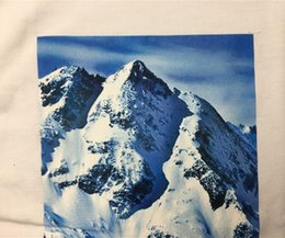 Wholesale Snow White Shirts - 2018 hot summer new men with the same paragraph Mountain printed Tee cooperation snow mountain short-sleeved T-shirt box logo tops tee