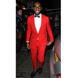 db24f87c36e New Red Groom Wear Men Suits Slim Fit 2 Piece Suits Skinny Stylish Men  Tuxedos Custom Prom Party Blazer (Jacket+Pants) men sky blue suit blazer on  sale