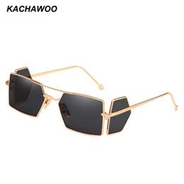gafas de sol laterales Rebajas Kachawoo venta al por mayor 6 unids protección lateral gafas de sol hombres marco de metal de oro punk gafas de sol cuadradas hombres accesorios de verano 2018 UV400