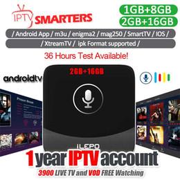Google tv caixa de controle remoto on-line-1 Ano de Assinatura IPTV E Caixa de TV Google Amlogic S905W Quad Core Android 7.1 caixa de TV Com 2.4G Voz Remoto 2 GB 16 GB Voz Controlada