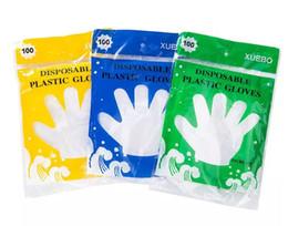 2019 insalata monouso all'ingrosso Guanti monouso usa e getta 100pcs / bag trasparente ispessito bellezza guanti sanitari con sacchetto di vendita al dettaglio colorato MYY
