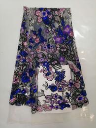Violet Mélodie ou bleu ciel Lacets Tissu 3D Paillettes Fleur Broderie Africaine Dentelle Tissus Haute Qualité2018 Pour Mariage ? partir de fabricateur