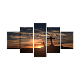 Wholesale sunset canvas art framed - Crosses at Sunset Wall Art Canvas HD Prints Art Home Decor for Living Room 5 Panels HD Printed Painting Framed Ready to Hang