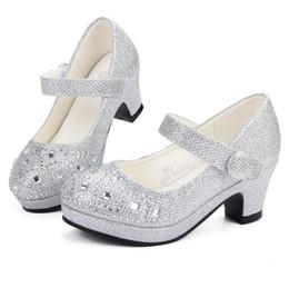 Argentina Zapatos de princesa para niños Sandalias para niñas Tacón alto Brillo Brillante Rhinestone Enfants Fille Zapatos de vestir para mujer supplier shiny glitter shoes Suministro