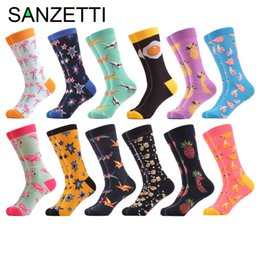c9354637bbfb SANZETTI 12 pairs lot Colorful Combed Cotton Fashion Men's Crew Socks  Flamingos Star Pattern Funny Dress Causal Wedding Socks patterned crew socks  for sale