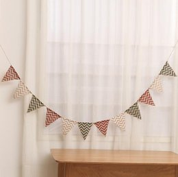 Wholesale Mini Banners - 1 set Mini Wavy Bunting Banners Burlap Jute Flags Christmas Xmas rusti Wedding Holiday Party Hanging Decoration vintage decor