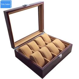 Большой наволочка онлайн-Часы Магазин Дисплей 8 Слотов Наручные Часы Case Box Большой Деревянный Краска Внутренний Бархат Подушка Дисплей Ювелирные Изделия Часы Case Организатор