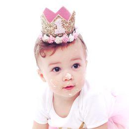 Tipos coroas de tiaras on-line-Presentes do bebê Headband Princesa Tiara Crown Rose Tipo de Flor Crown Headband Crianças Coroa de Ouro Festa de Aniversário Performing Headwear Festival