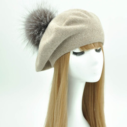 real fox hats Coupons - Winter Beret Hat Women Female Autumn Cashmere Wool Beret Natural Silver Fox Fur Pom Pom Hat 2018 New Real Fur Pompom Cap