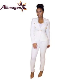 Wholesale womens sexy pants suits - Ahmagen Fashion 2017 Autumn Blazer Suit Jacket Womens Double Breasted Blazers and Pants Sexy Suits Black White Chaqueta Mujer
