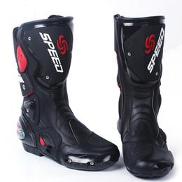 HIZ Motosiklet Botları Moto Yarış Motocross Aşınmaya dayanıklı Deri Yarış Motosiklet Ayakkabı Siyah / Beyaz / Kırmızı Sürme ayakkabı nereden ayakkabı askı perçinleri tedarikçiler