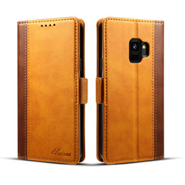 Wholesale Case For Matches - Color matching leather Wallet Phone case For Samsung Galxy S9 S9Plus with card slot holder cell phone cases for Iphone x 8 7 6 plus