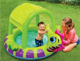Wholesale Inflatable Paddling Pools - INTEX 57110 inflatable baby pool hippocampus covered sun shade baby pool paddling ocean ball size 155*135*104CM