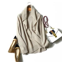 Conceptions de cou de chandails dames en Ligne-100% cachemire pull femmes châle design solide o cou manches longues 3 couleurs dames qualité pulls tricot 2018 nouvelle mode