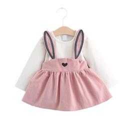 Simpatiche bretelle per le ragazze online-vestito di orecchie di coniglio di bretelle di coniglio di piccola ragazza causale carina per 9M-3years ragazze vestiti di vestido di cotone di modo di bambini piccoli bambini