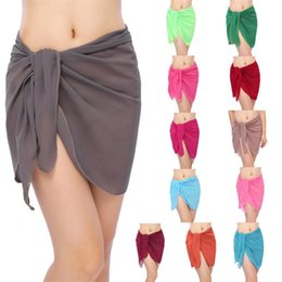 traje de baño hippie Rebajas 140 * 50 cm Ropa de Playa de Verano Faldas de Las Mujeres Sólido Cover Up Gasa Bikinis traje de Baño Wrap traje de Baño Traje de Baño P0058