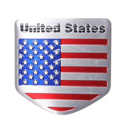 Wholesale usa doors - 1x USA Flag Metal Emblem Badge Sticker American Flag Waterproof Metal Auto Refitting Car Badge Emblem Decal Sticker