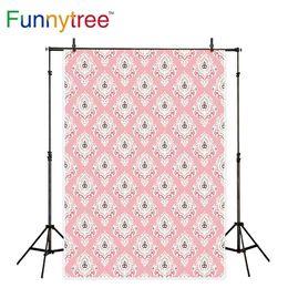 Damast fotografie hintergrund online-Funnytree-Hintergrund für Fotostudio-Damastrosa Weinlesemuster für Dekorphotographiehintergrund photocall photobooth gedruckt