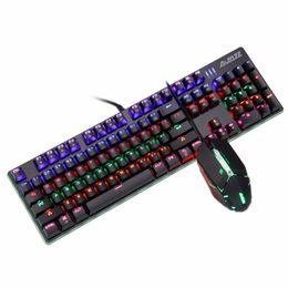 Стандартные мыши онлайн-Ajazz AK50+GTC5050 104 Keys USB 2.0 Standard Mechanical Ergonomic Gaming Keyboard Humanized Design 7 keys DPI 2400 gaming mouse