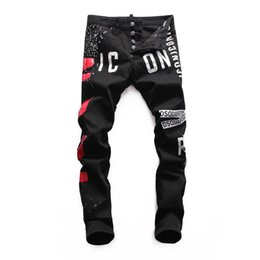 Modelo ds on-line-2018 novos homens DS denim calças explosão modelos impressão especial costura calças seção calças pretas denim