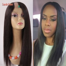 Wholesale U Part Wigs - 2018 Crazy Wholesale Price Soft U Part Wig Yaki Straight Human Hair Peruvian Virgin Human Hair U part Wig Straight Style Middle U Part