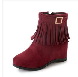 Wholesale Korean Boots Wedges - 2018 autumn and winter new women's solid color flat fringed boots Korean casual boots women size 35-40
