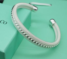 Wholesale High End Fashion Jewelry - High-End Net Silver Cuff Bracelet Fashion Brand Bangle Fine Jewelry For Women Wedding Party Gift Free Shipping
