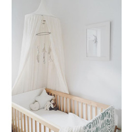 Wholesale Princess Kids Bedding - Wholesale-Cotton and Linen Kids Infant Boys Girls Princess Canopy Bed Valance Baby Bed Round Mosquito Net Play Tent Kid's Room Decoration