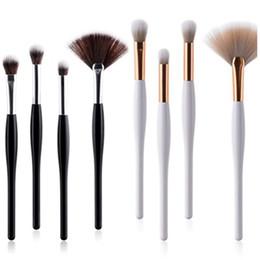 Wholesale Mini Makeup Brushes - 4PCS Professional Makeup Brushes Set Mini Fan Face & Eye Powder Foundation Eyebrow Make Up Brus Cosmetics Make Up Brush Beauty Tools Kit