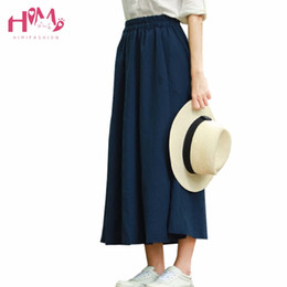 Wholesale Korean Style Long Skirts - Mori Girl Summer Women Retro Long Skirt Japanese Korean College Style A Line High Waist Black Skirts Vintage Plus Size Skirt